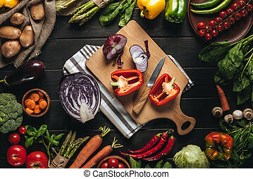 cutting board with fresh vegetables