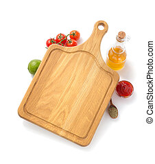 cutting board with ingredient isolated on white background