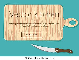 Cutting board with knife conceptual vector illustration
