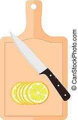 Cutting board with lemon