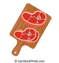 Cutting board with pork, bacon for restaurants. Cartoon flat style.