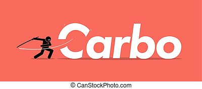 Cutting carbo or carbohydrates for healthy diet.