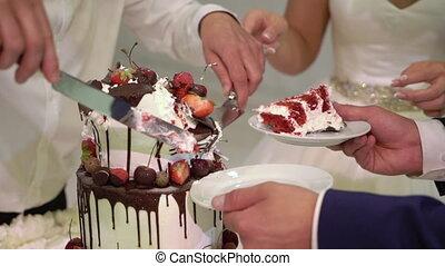 Cutting celebration cake with knife