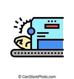 cutting chicken machine color icon vector illustration