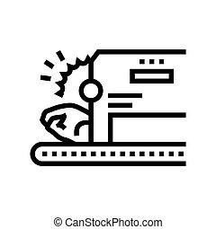 cutting chicken machine line icon vector illustration