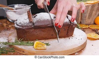 Cutting chocolate brownie top view
