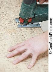 Cutting cork board with jigsaw
