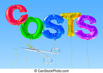 Cutting costs concept with colored foil balloons. 3D rendering