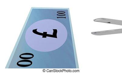 Cutting costs - Scissors cutting through a generic 100 pound...