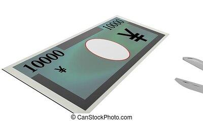 Cutting costs - Scissors cutting through a generic 10000...