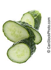 Cutting cucumber in water closeup