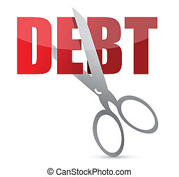 Cutting dept in red with scissors illustration