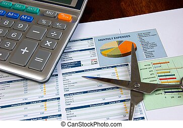 Cutting Expenses - Budget and Expenses sheet with a pair of...