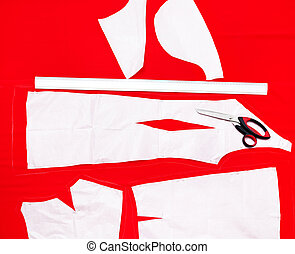 cutting fabric for dresses - tailor scissors and cutting out...