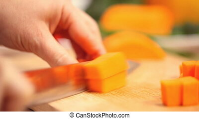cutting fresh pumpkin