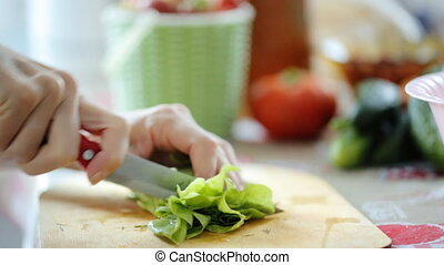 Cutting green herbs for salad