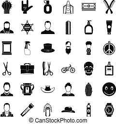 Cutting hair icons set, simple style