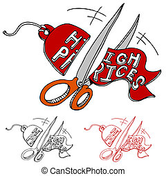 Cutting High Prices - An image of a scissors cutting a high...