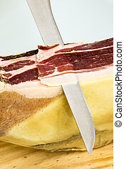 Cutting Iberian ham - Cutting a slice of Iberian ham...
