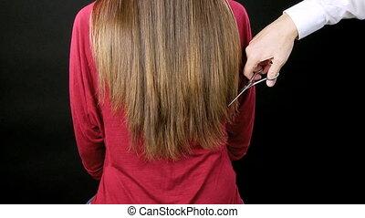 Cutting long hair