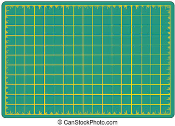 Green self healing mat for measuring and cutting materials for arts, crafts, sewing, quilting, applique, patchwork, do it yourself projects.