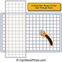 Cutting Mat, Rotary Blade Cutter, See Through Ruler
