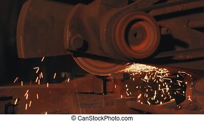 Cutting of metal rod slow motion