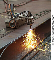 Cutting of steel plates in mechanical workshop