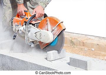 Cutting pavement stones