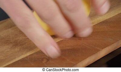 Cutting potatoes - Close up of a man cutting potatoes
