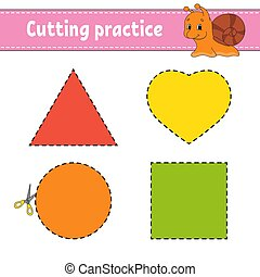 Cutting practice for kids. Education developing worksheet. Activity page with pictures. Game for children. Isolated vector illustration. Funny character. Cartoon style