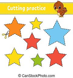 Cutting practice for kids. Education developing worksheet. ...