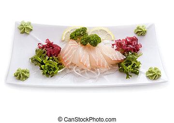 Cutting raw white fish salad wasabi isolated