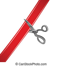 cutting ribbon - illustration of cutting ribbon on white...