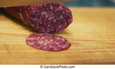 Cutting salami to slices
