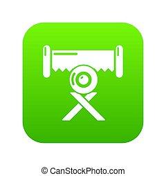 Cutting saw icon green