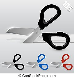 Cutting scissors art set color. Vector illustration