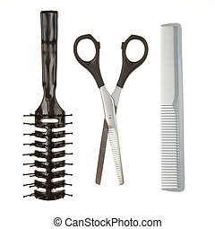 Close up of shiny silver hair cutting scissors or shears and black comb and a black brush isolated on white background