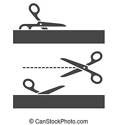 Cutting Scissors Set with Cut Lines on White Background. Vector
