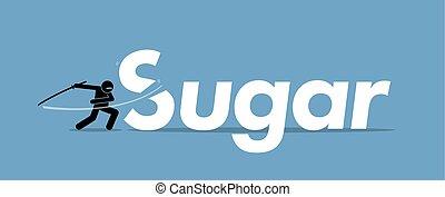 Cutting sugar for healthy diet.