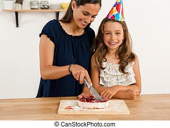 Cutting the birthday cake