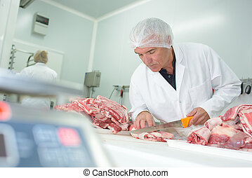 cutting the meat