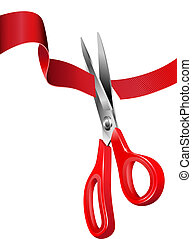 Cutting the Red Ribbon - All elements are grouped on ...