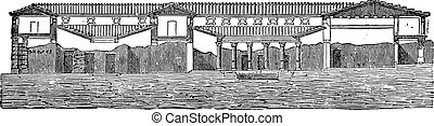 Cutting the said house of Pansa at Pompeii, vintage...