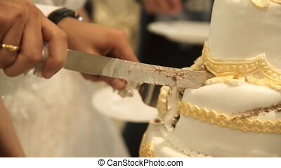 cutting the wedding cake yellow white