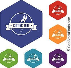 Cutting tool icons vector hexahedron