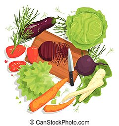 Cutting Vegetables Drawing, With  Board And Fresh Crops
