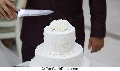 Cutting wedding cake at wedding