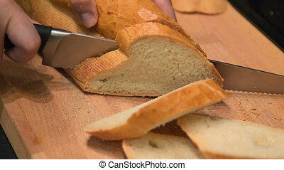 Cutting white bread
