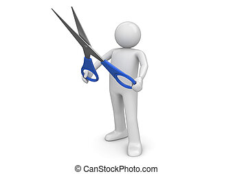 Cutting with scissors - 3d isolated on white background...